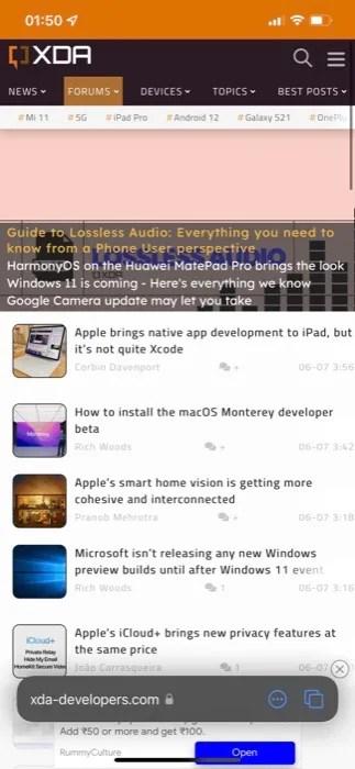 Safari new UI on iOS 15 showing the XDA homepage