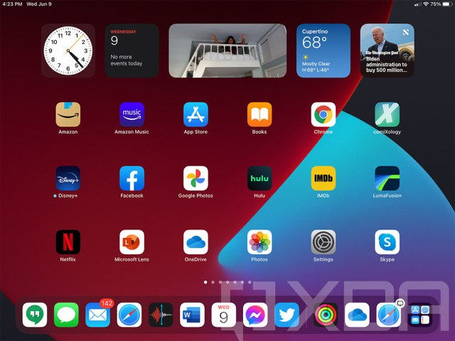 iPadOS home screen with new widgets