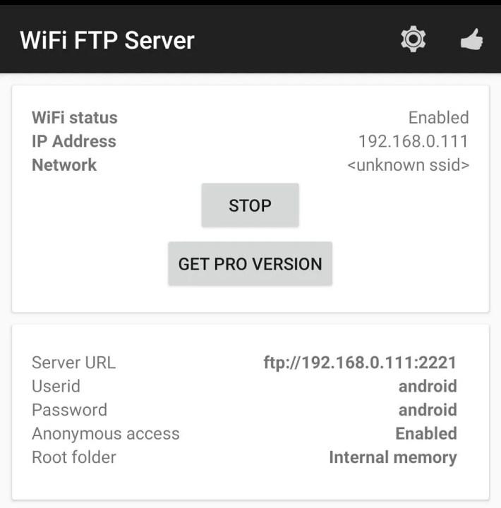 WiFi FTP server IP