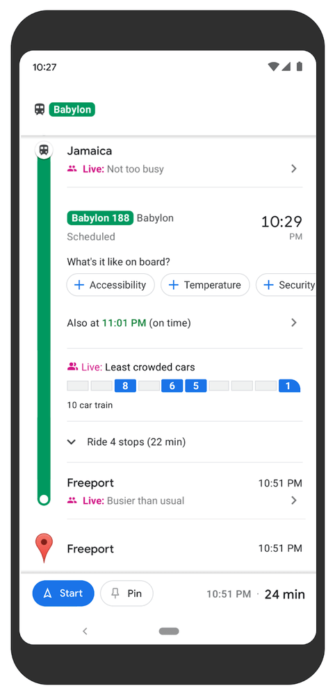 Google Maps train level crowdedness predictions