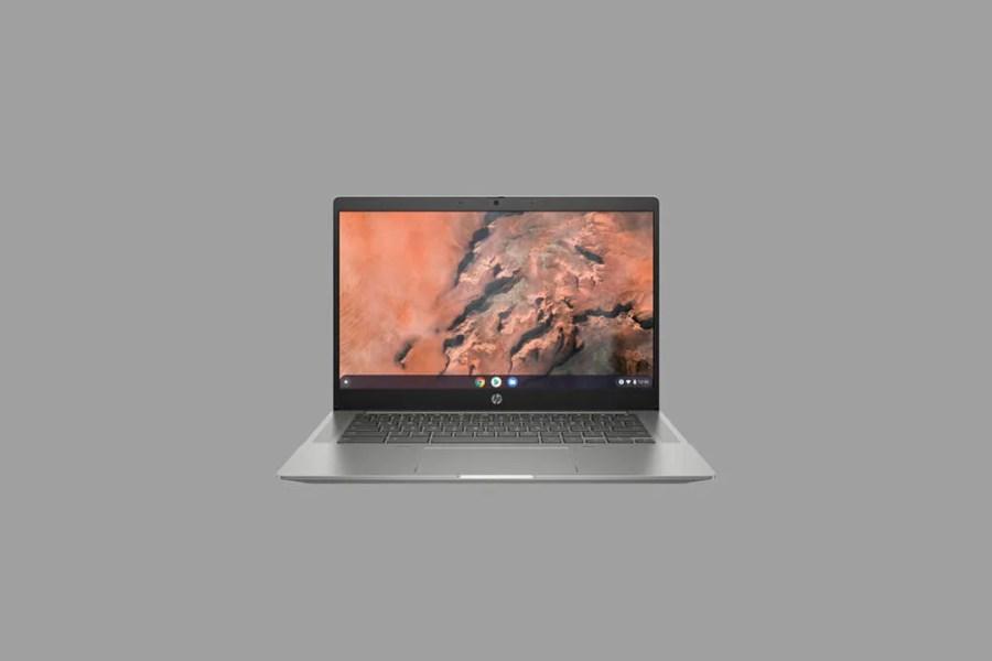 HP Chromebook 14b on gray background