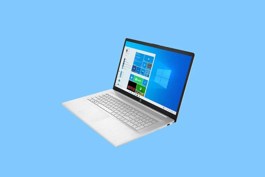 HP Laptop 17 on blue background