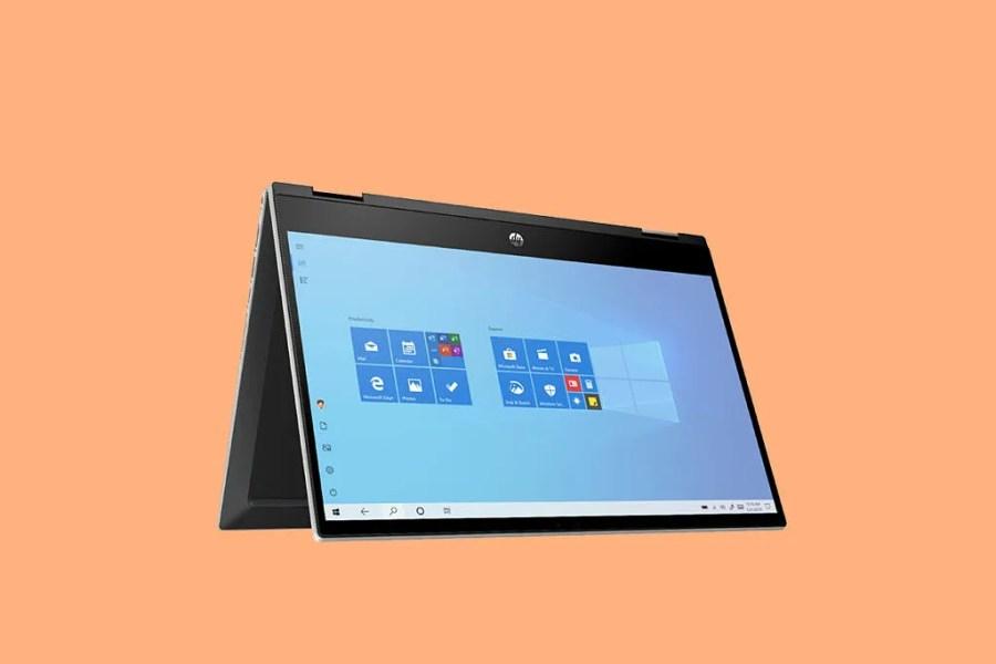 HP pavilion x360 14 on orange background
