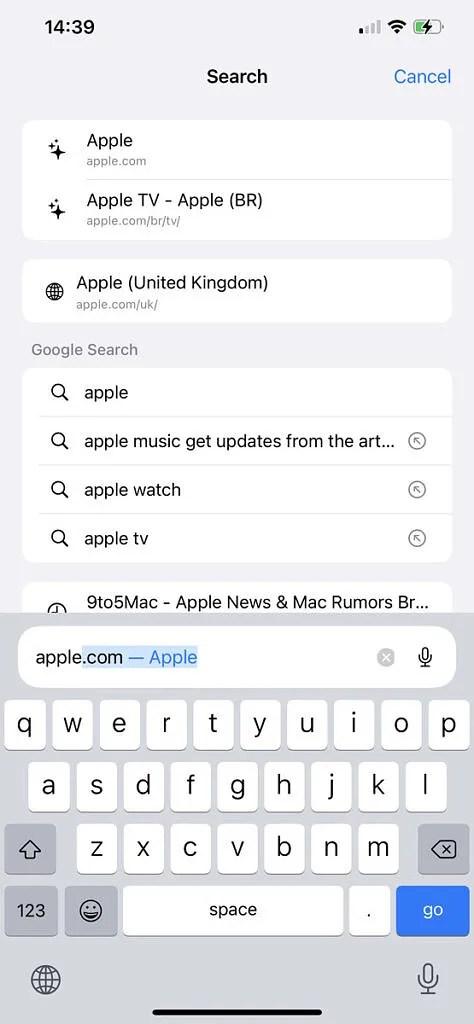 Typing in search bar in Safari on iOS 15