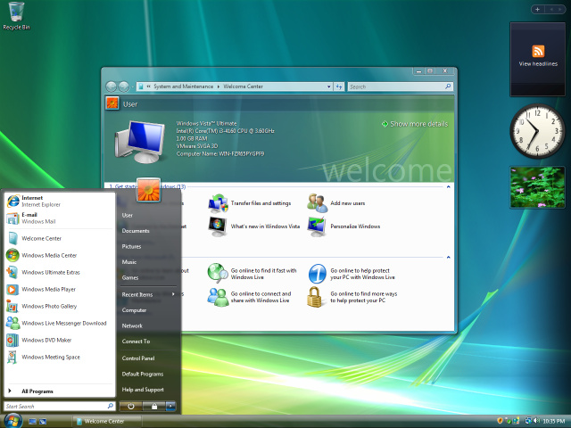 Windows Vista desktop showing Start Menu and widgets