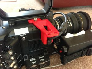 F5-connector-protector-300x225 Viewfinder connector protector and microphone mount for PMW-F5 and PMW-F55.