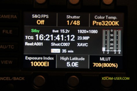 EI-1000iso-indication Cine-EI Mode when recording S-Log2/3 and raw on the F5 and F55.
