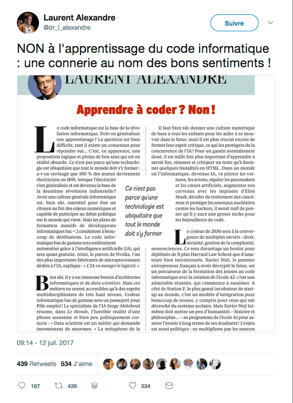 NON à l'apprentissage du code informatique