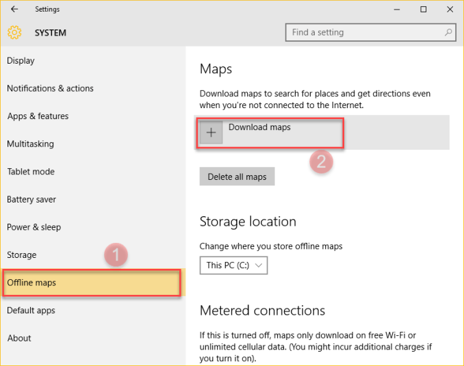 windows 10 tips-Offline Maps-select system.