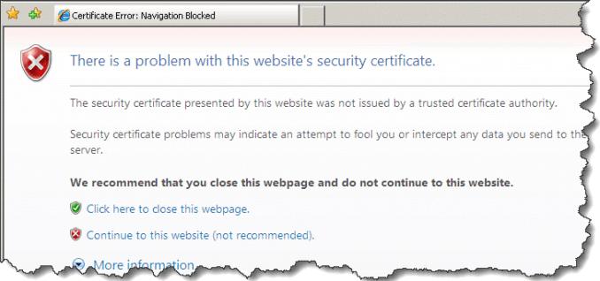 Security Certificate Error