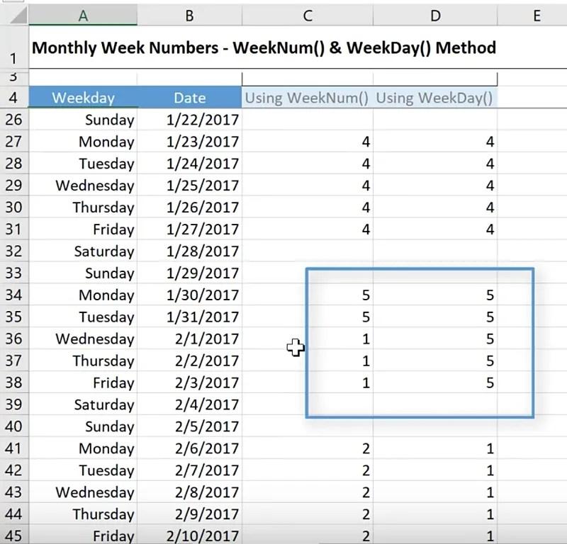 get week number in