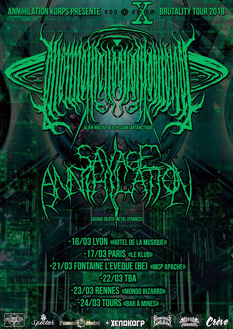 SAVAGE ANNIHILATION March 2018 tour poster