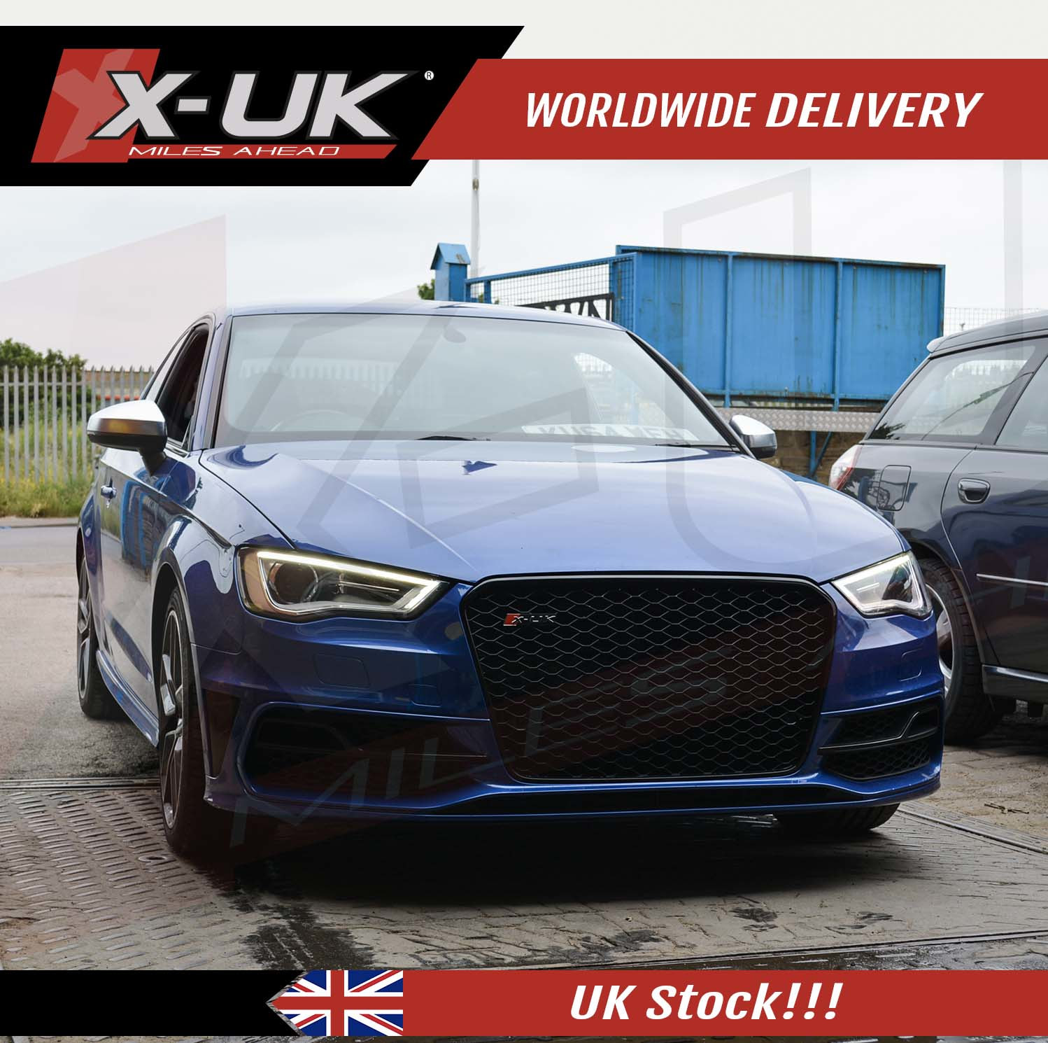 RS3 style front grill gloss black for Audi A3  S3 8V 2012