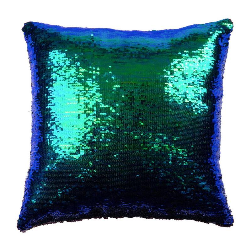 Kussen pailletten  groenblauw  43x43 cm  Das leuk van