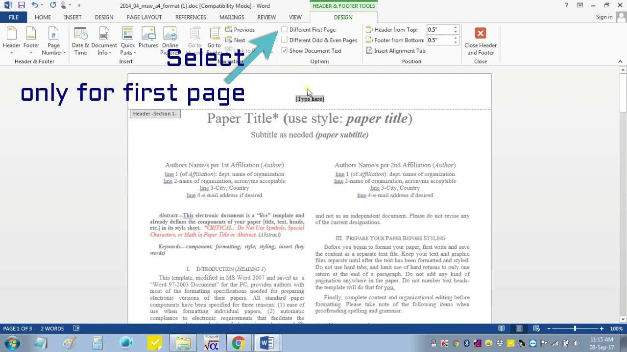 Ieee Template Word 2007 - Professional Template