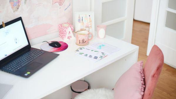a pink desk