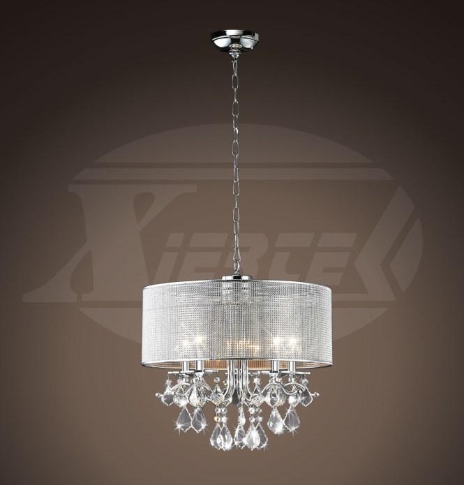 Isabella Silver Rhinestone Shade 5 Light Round Crystal Chandelier 14 H X 18