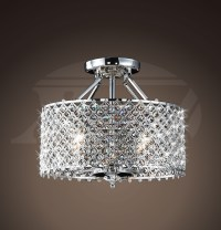 Helina Chrome and Crystal 4-light Round Ceiling Flush ...