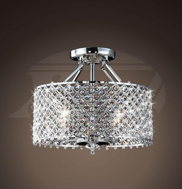 Helina Chrome And Crystal 4-light Ceiling Flush