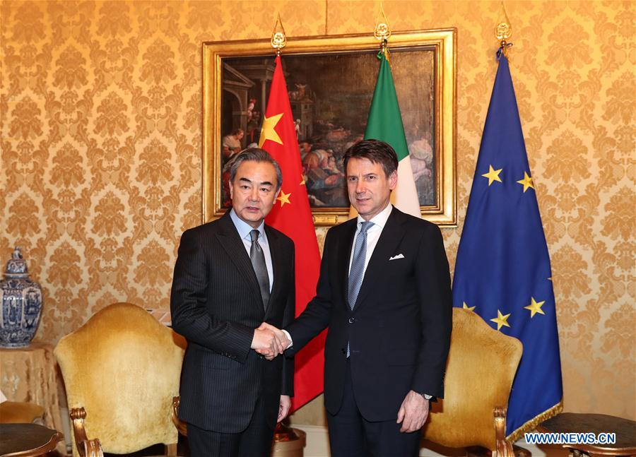ITALY-ROME-CONTE-WANG YI-MEETING