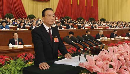 Chinese Premier Wen Jiabao delivered a government work report during the opening meeting of the Fifth Session of the 11th National People Congress in Beijing, March 5, 2012.