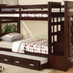 Acrux Twin Bunk Bed With Stairs And Trundle Bed In Espresso Xiorex