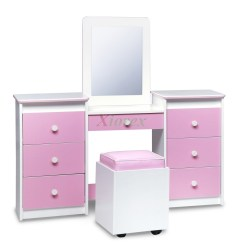 Bedroom Dressing Table Chair Office Ebay Vanity Sets Life Line Tango Mirror Seat Xiorex Girls Set White W Pink Vinyl Fronts By