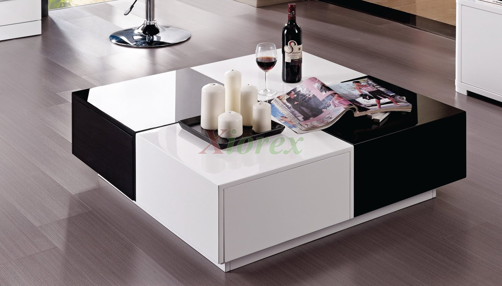 Vaughan Black and White Lacquer Coffee Table Furniture