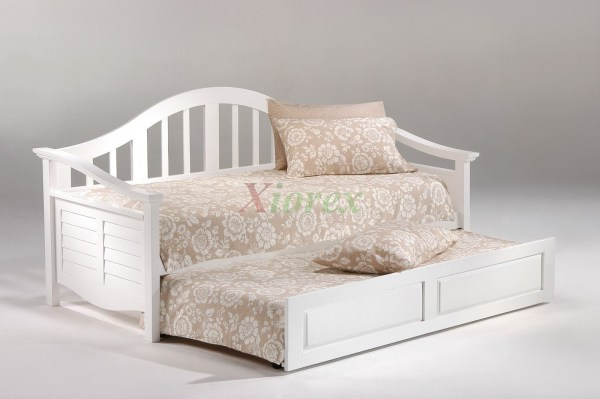 Seagull Daybed Twin Size White Day Bed With Trundle