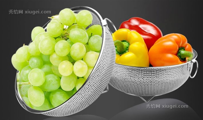 fruit basket for kitchen tall table and chairs huanxipo加厚型不锈钢沥水篮 bh03水果篮子三件套 时尚厨房果菜篮 秀给网 bh03水
