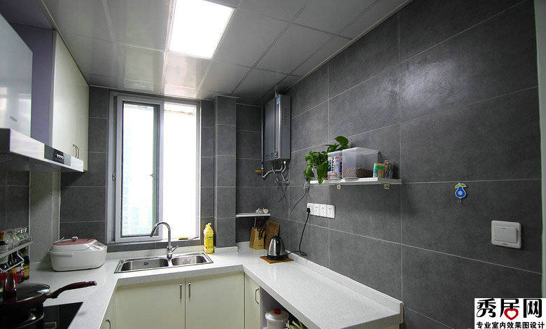 pictures for kitchen wall hickory cabinets wholesale 灰色墙砖整体厨房效果图灰色仿古砖厨房墙面设计图片 秀居网