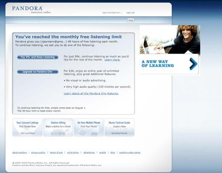 Pandora Monthly Limit