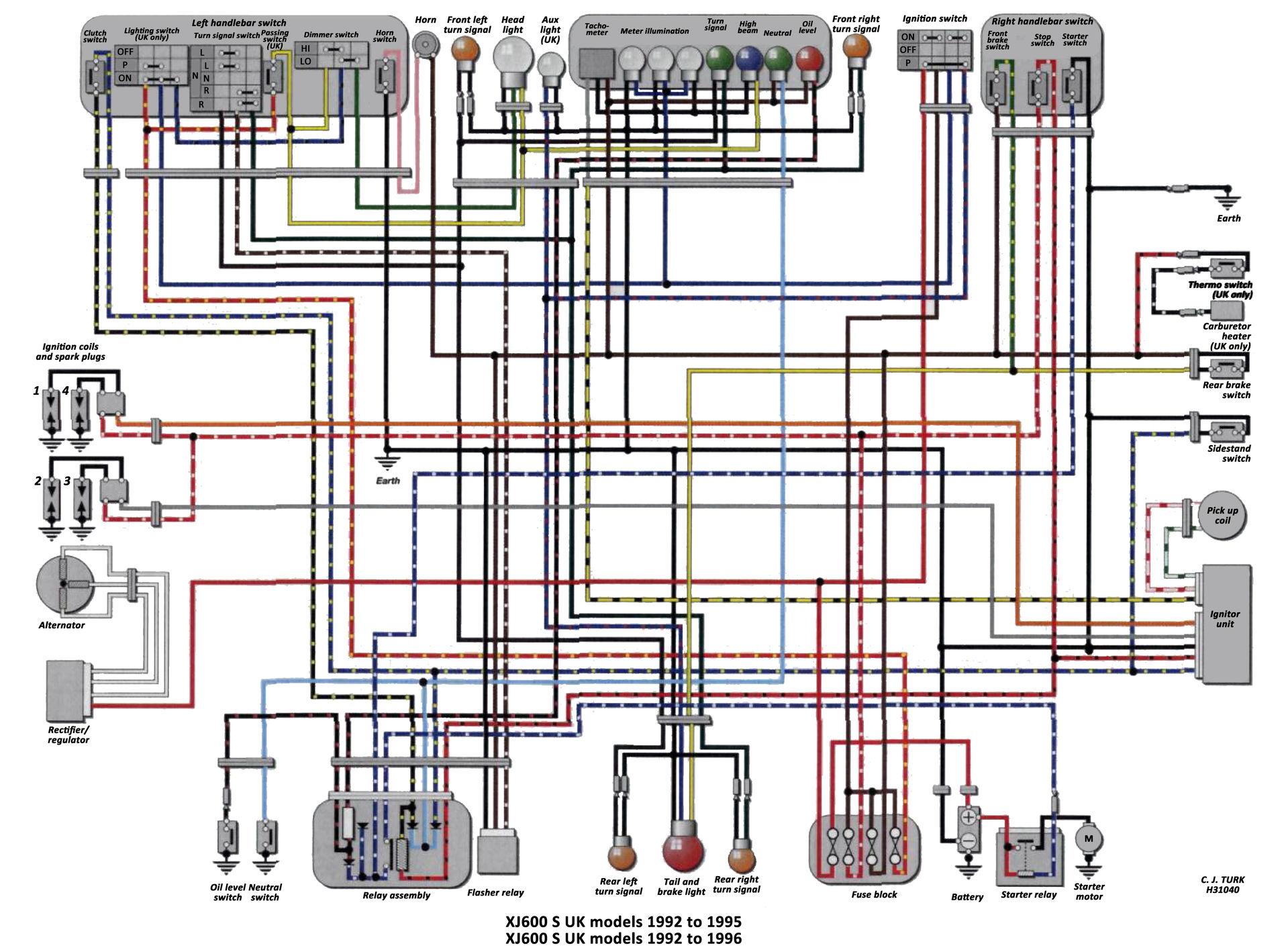 yamaha wiring diagram symbols 1996 chevy silverado stereo xj 600 library