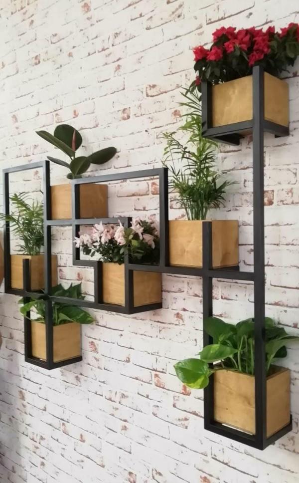 Lxlamp vaso alto da interno design, vasi per nota: Scaffale Da Parete Legno E Ferro Per Piante Decorative Idea Originale Xlab