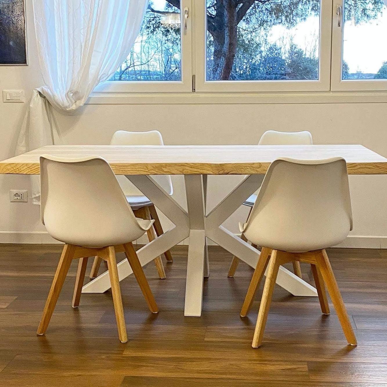 Bakaji tavolo sala da pranzo cucina forma rettangolare design moderno in legno mdf finitura in melammina dimensione 120 x 80 x 74 cm arredamento casa (acero). Tavolo Legno Massello Moderno Con Gamba Stella Bianca Lola 180x90 Xlab Design