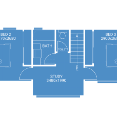second storey extension floor plan blueprint showing 2 bedrooms 1 bathroom and study house extension plans [ 10012 x 5893 Pixel ]