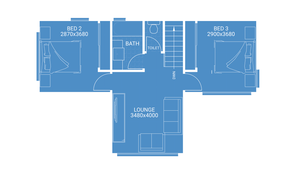 medium resolution of second storey extension free floor plan blueprint showing 2 bedrooms 1 bathroom and lounge room house