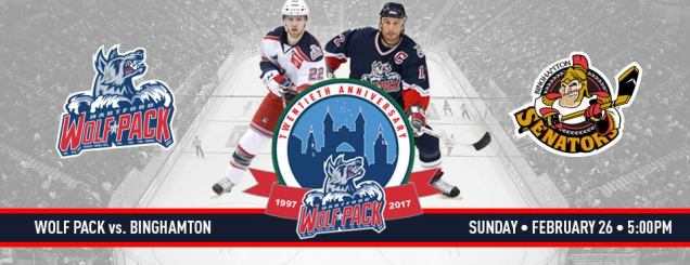 Image result for Hartford Wolf Pack vs. Binghamton Senators feb 26