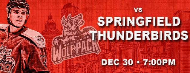 Image result for Hartford Wolf Pack vs. Springfield Thunderbirds Dec 30
