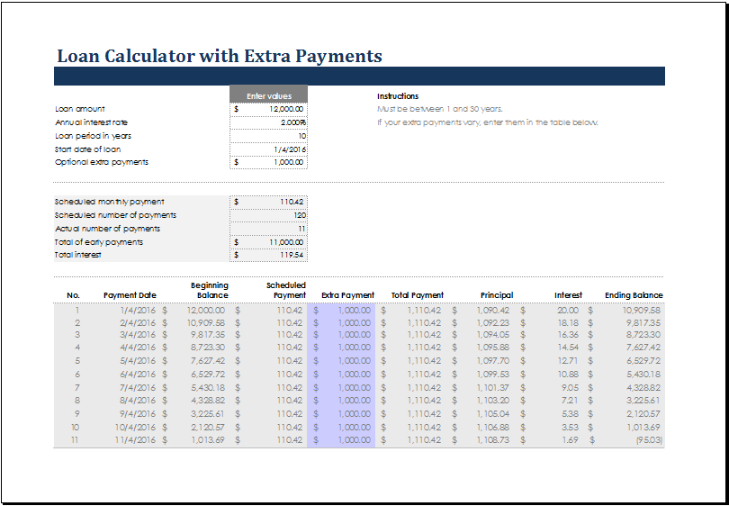 excel payment calculator template