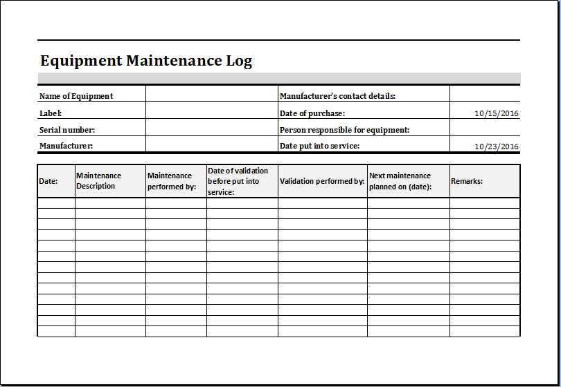 equipment service log template