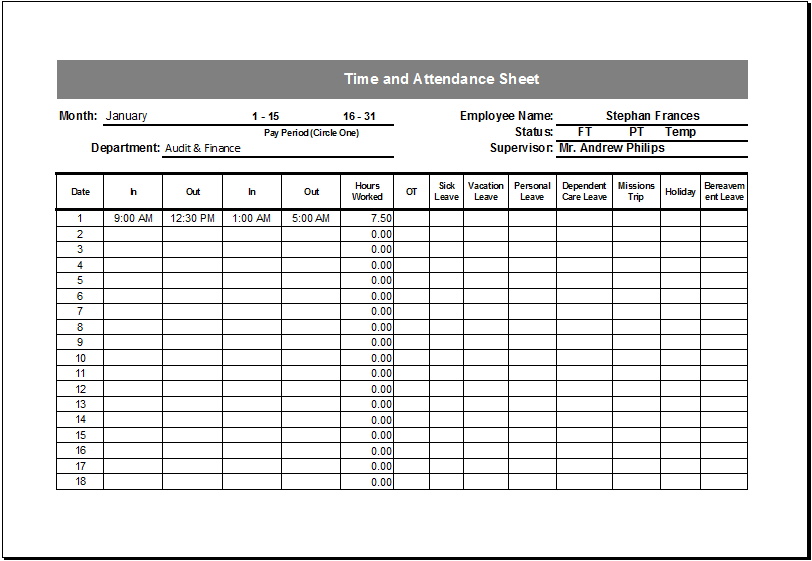 """The """"week starting"""" field automatically inputs the date today and fills up the """"date"""" and """"day"""" columns accordingly. Editable Printable Time And Attendance Sheet Excel Templates"""