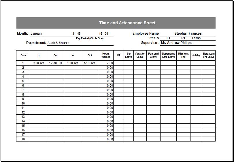 time attendance sheet