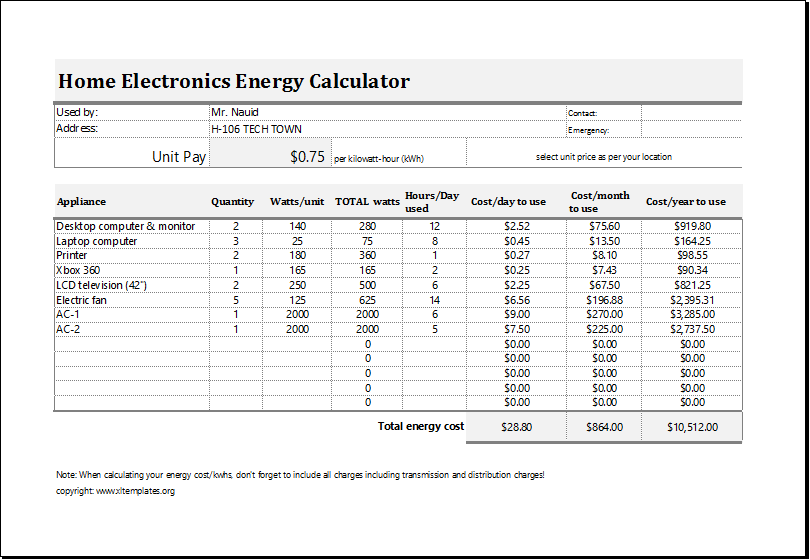 excel calculation template - April.onthemarch.co