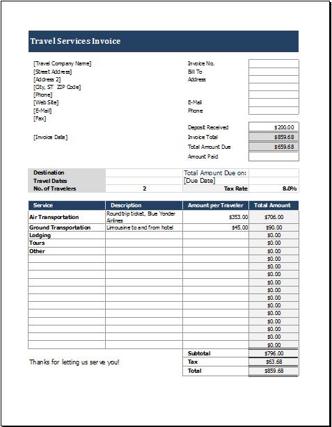 travel invoice sample
