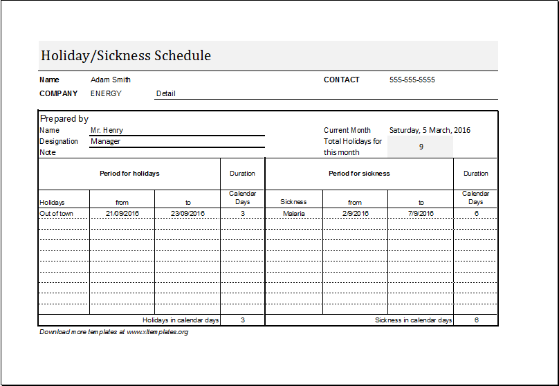 Employee Holiday Sickness Schedule Template Excel Templates