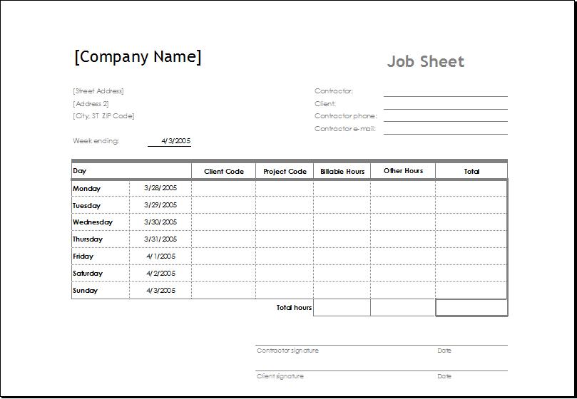 job cost sheet template