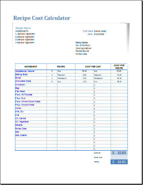 recipe templates for excel - April.onthemarch.co