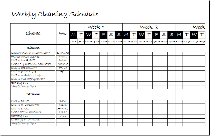 Weekly Clean Up Spreadsheet Template .xls | Excel Templates