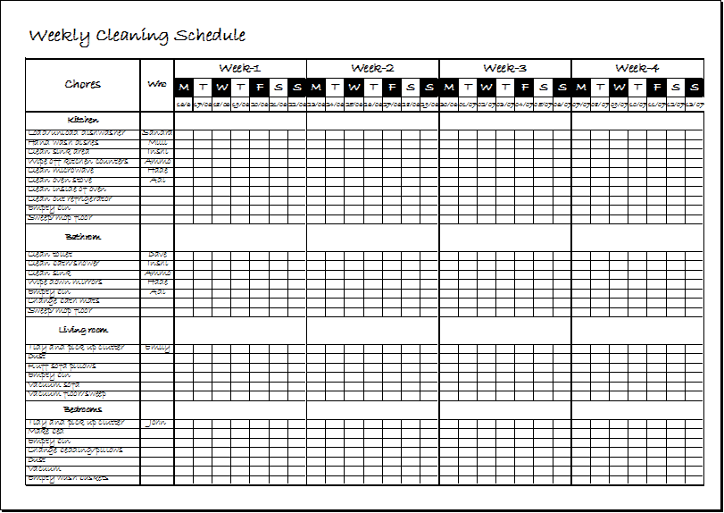 Weekly Clean Up Spreadsheet Template Xls Excel Templates